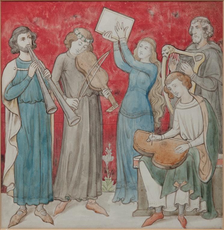Ontwerptekening voor de archiefkast met een allegorische voorstelling van de muziek