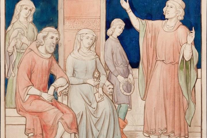 Ontwerptekening voor de archiefkast met een allegorische voorstelling van de poëzie
