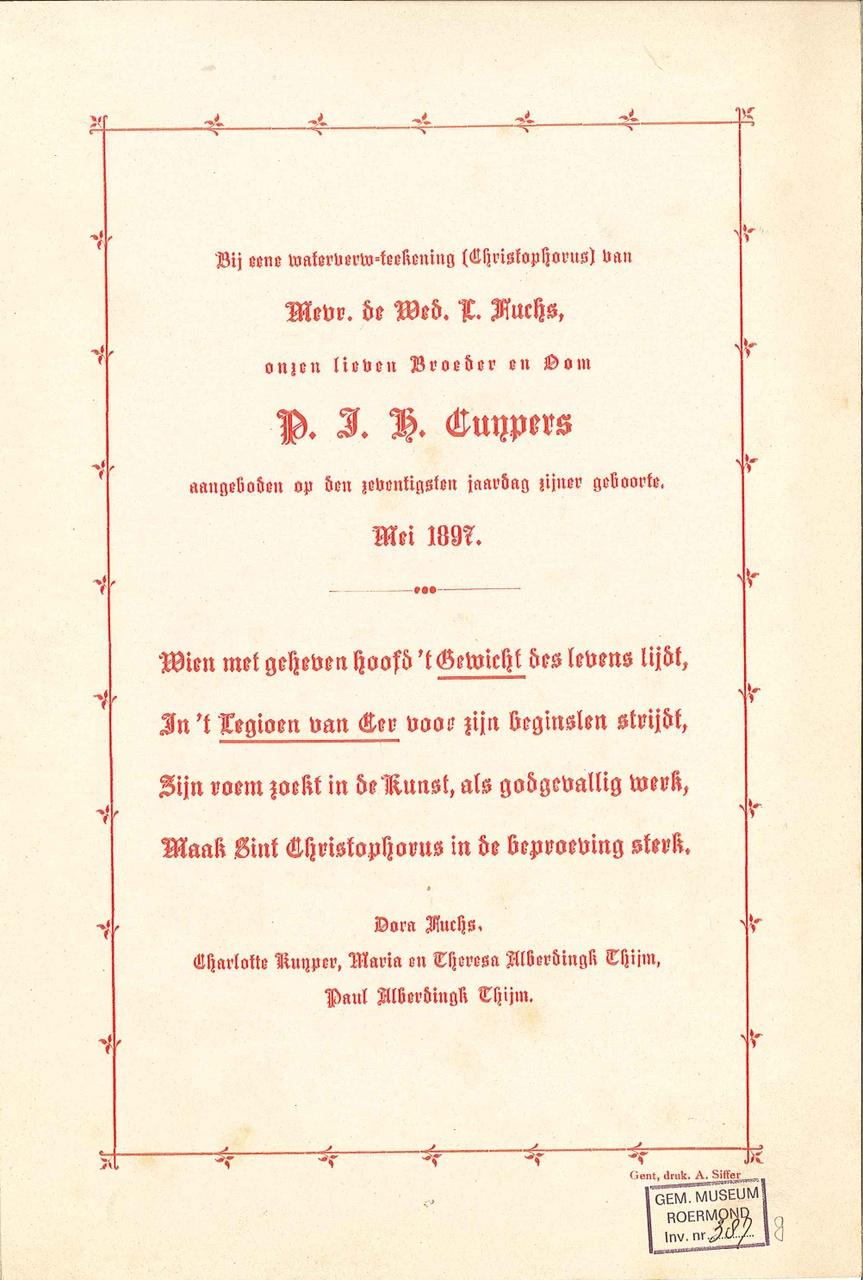 Felicitatiekaart met gedicht b.g.v. 70e verjaardag P.J.H. Cuypers
