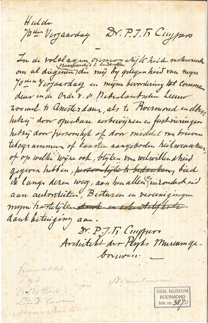 Kladbriefje van P.J.H. Cuypers b.g.v. zijn 70e verjaardag