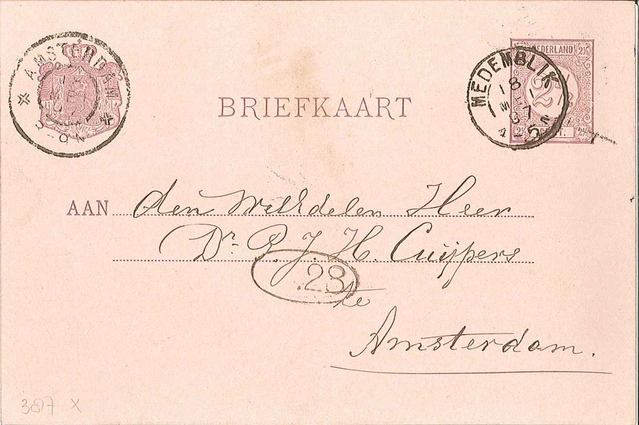 Briefkaart, felicitatie b.g.v. 70e verjaardag P.J.H. Cuypers