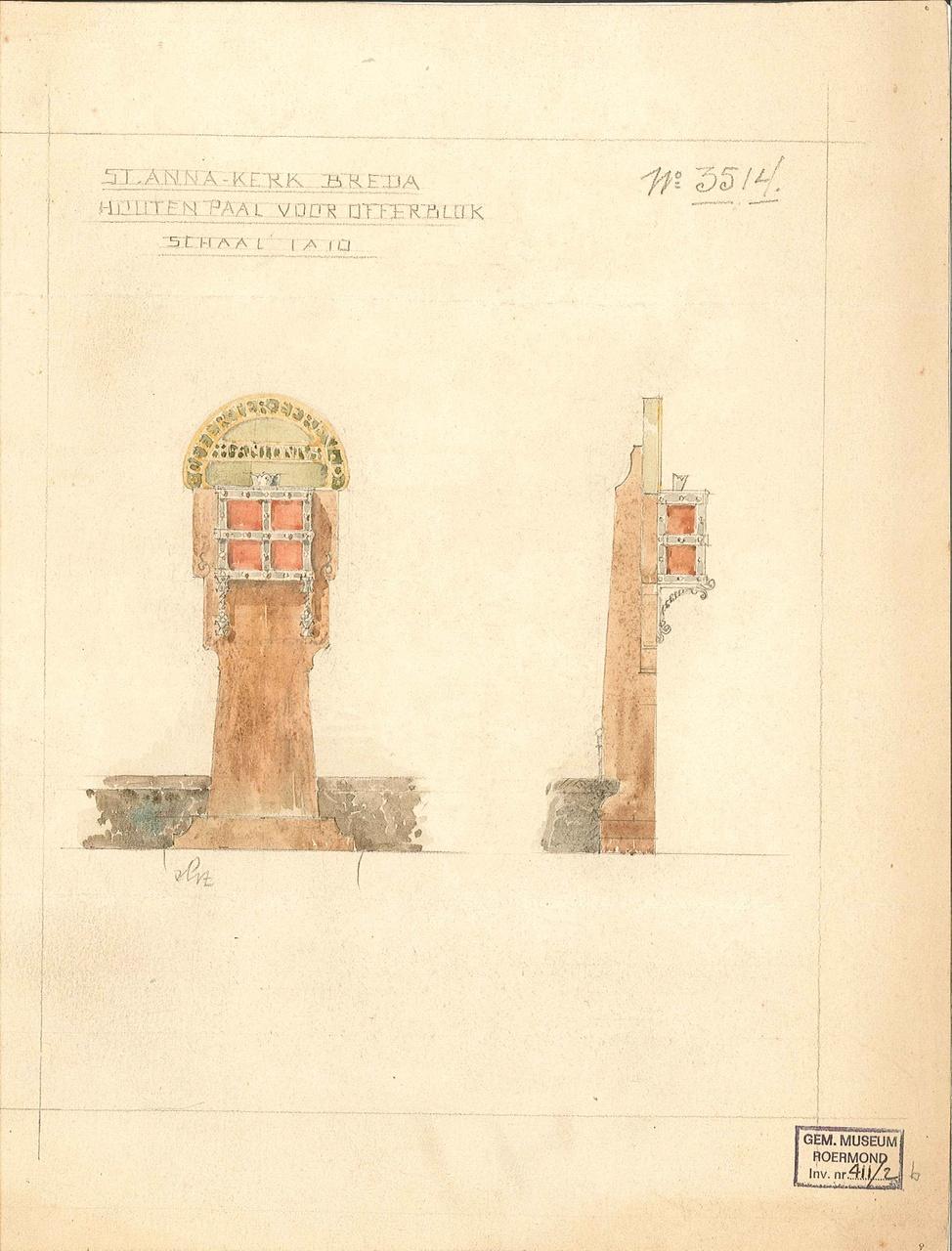 St. Annakerk Breda, houten paal voor offerblok