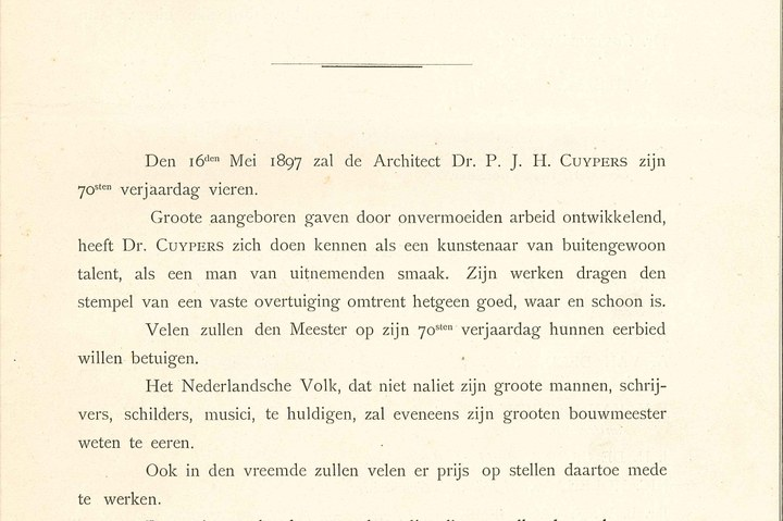 Briefje betreffende huldeblijk aan Dr. Cuypers, t.g.v. 70e verjaardag.