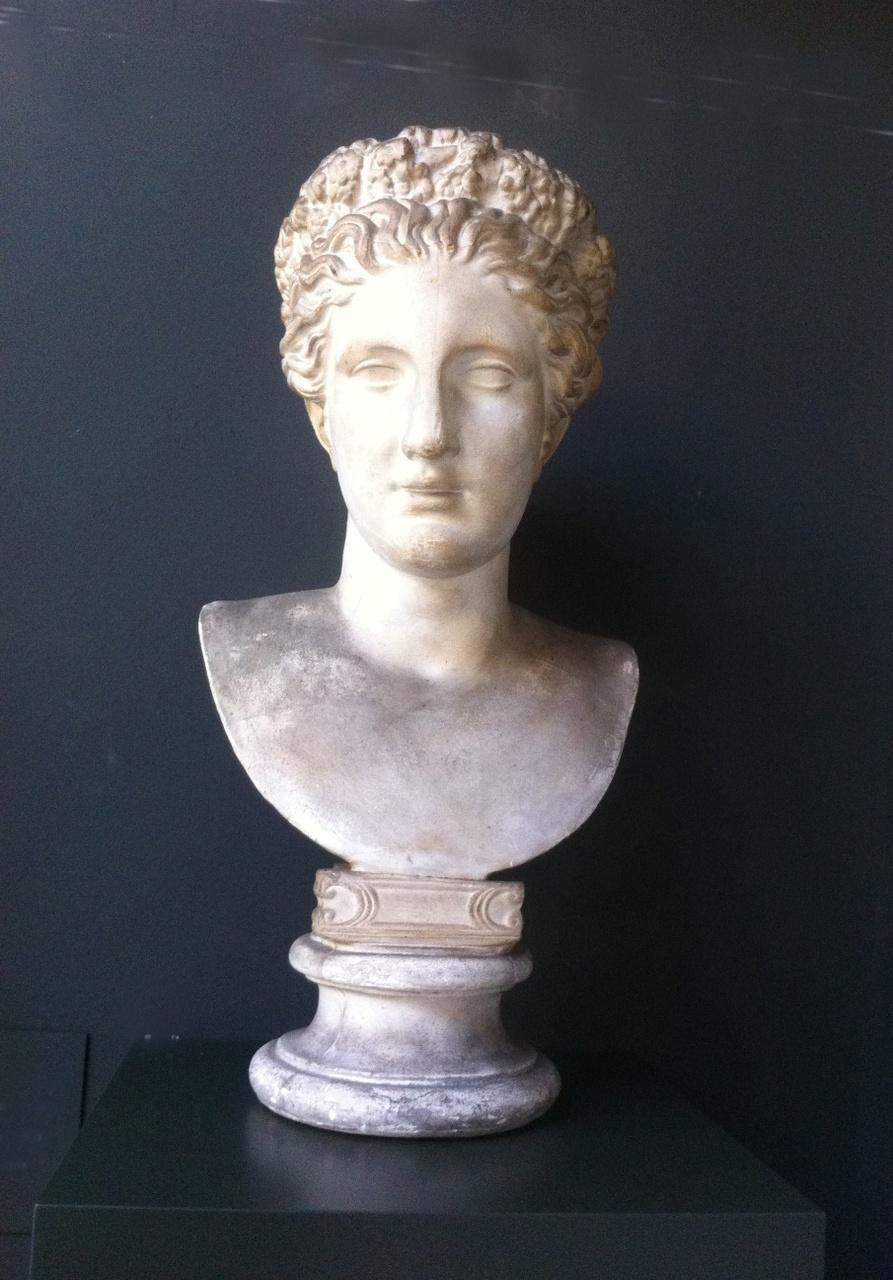 Borstbeeld van een vrouw met bloemenkrans