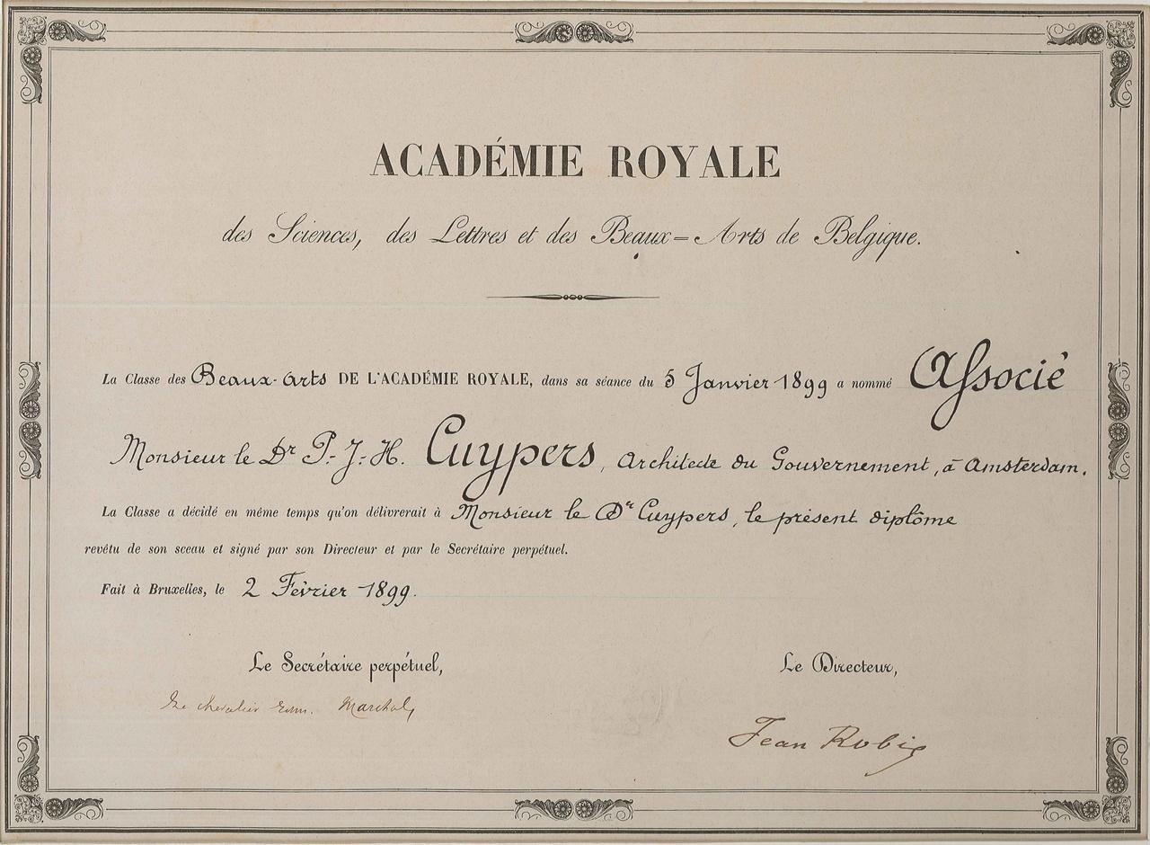 Diploma van de Académie Royale Belgique aan P.J.H. Cuypers