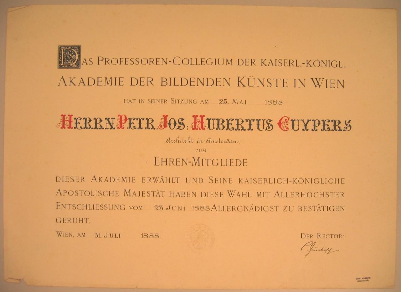 Erelidmaatschap van de Akademie der Bildende Künste in Wien aan P.J.H. Cuypers
