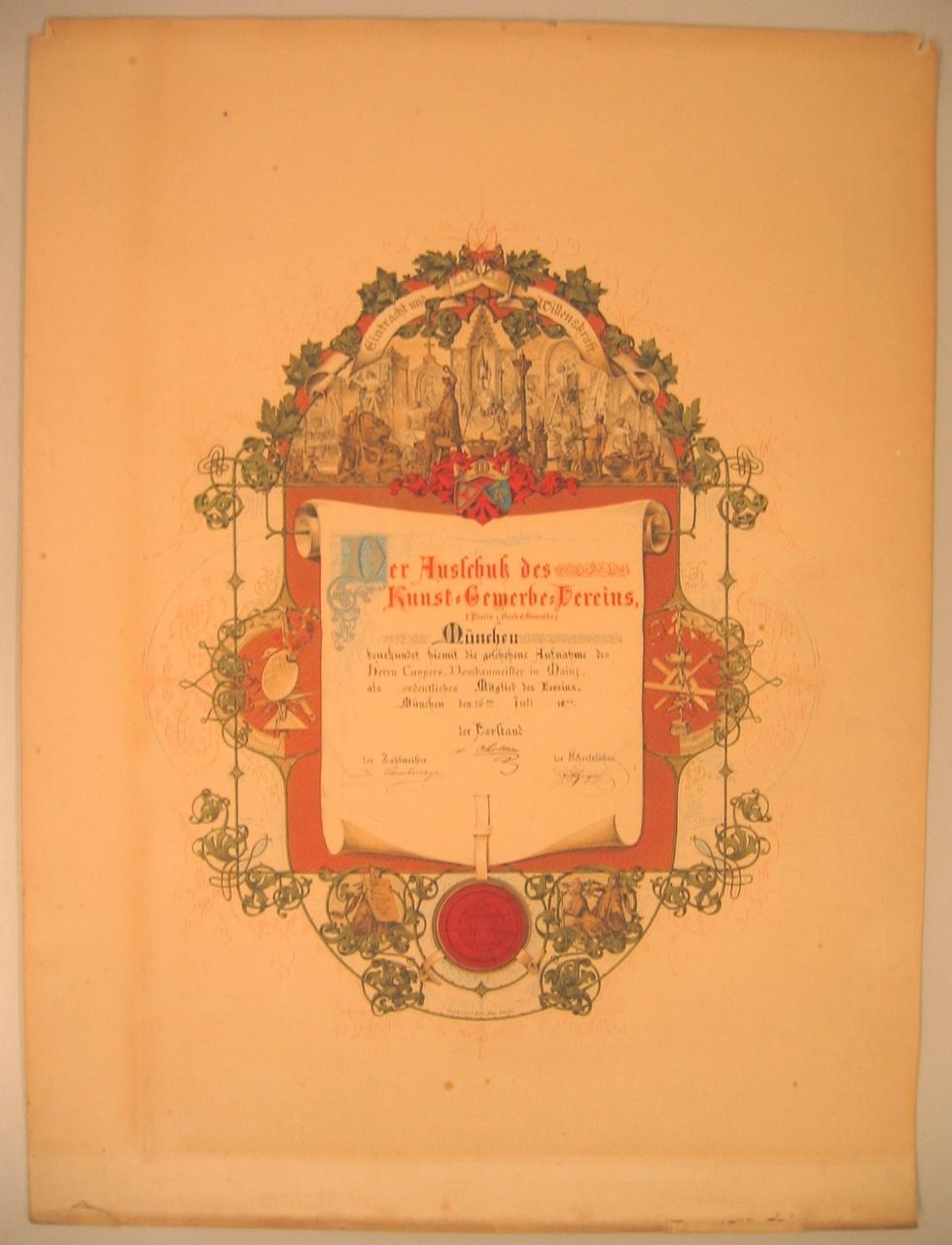 Lidmaatschap van de Kunst Gewerbe Vereins München aan P.J.H. Cuypers