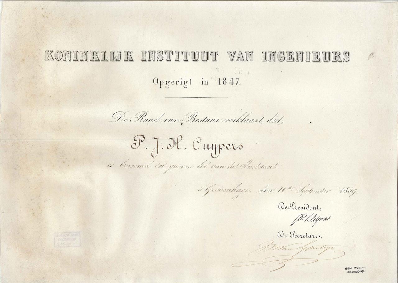 Lidmaatschap van het Koninklijk Instituut van Ingenieurs aan P.J.H. Cuypers