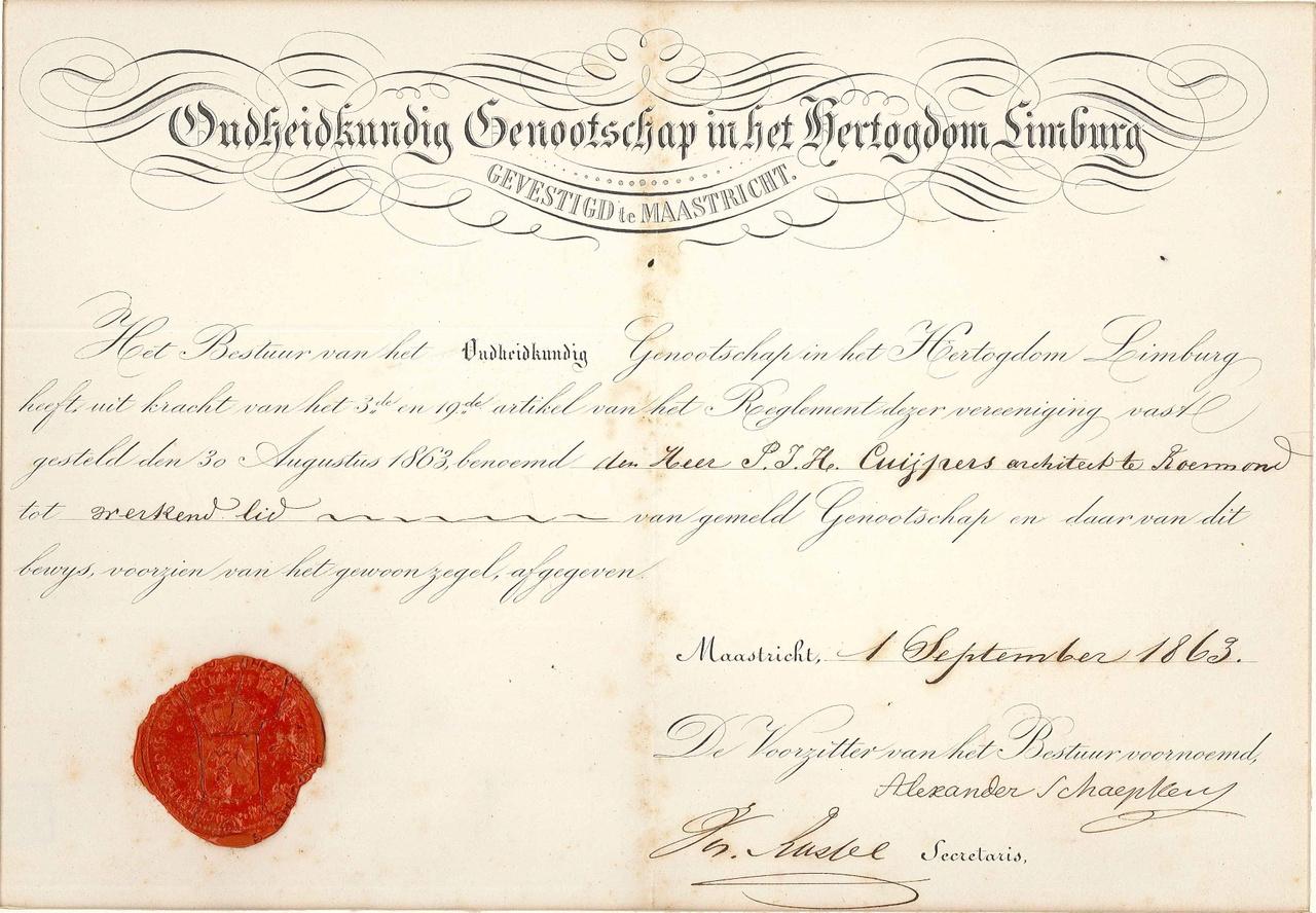 Lidmaatschap Oudheidkundig Genootschap in het Hertogdom Limburg aan P.J.H. Cuypers