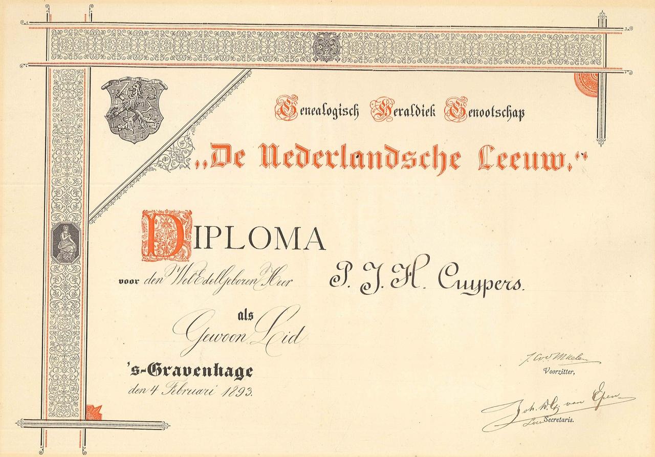 Lidmaatschap Geneaologisch Heraldisch Genootschap van de Nederlandse Leeuw