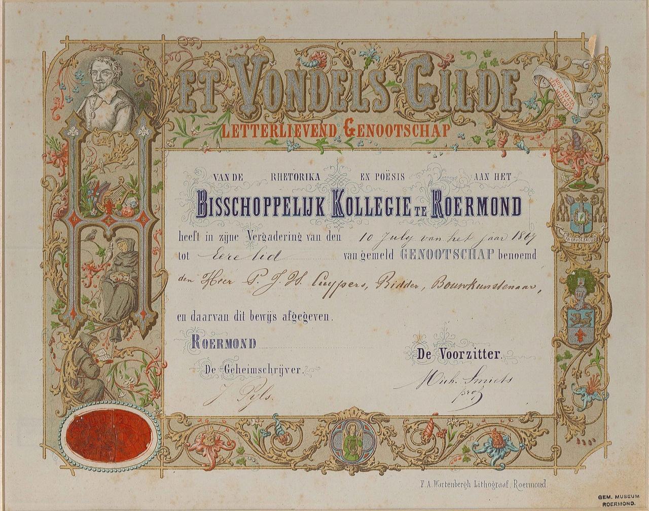 Ere-lidmaatschap van het Vondelsgilde Roermond aan P.J.H. Cuypers