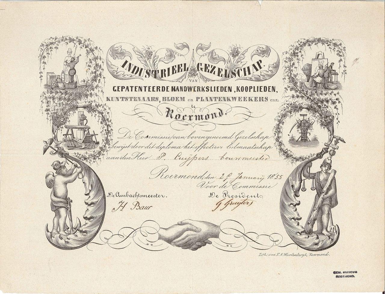 Lidmaatschap van het Industrieel Gezelschap Roermond aan P.J.H. Cuypers