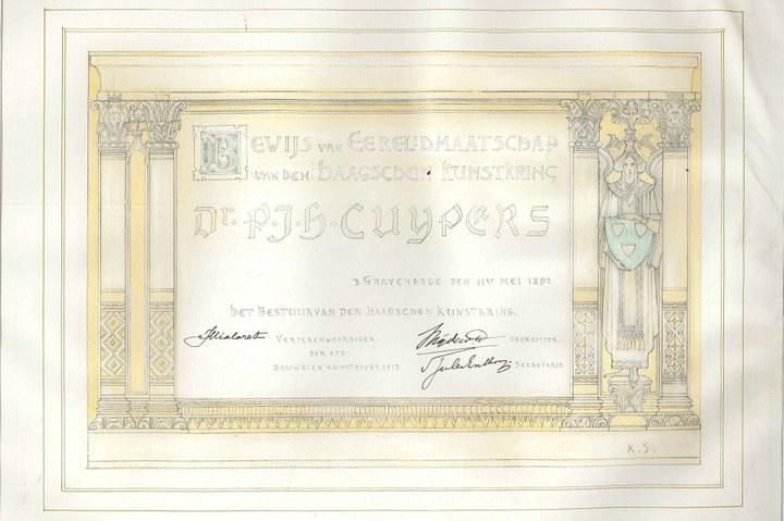 Ere-lidmaatschap van de Haagsche Kunstkring aan P.J.H. Cuypers