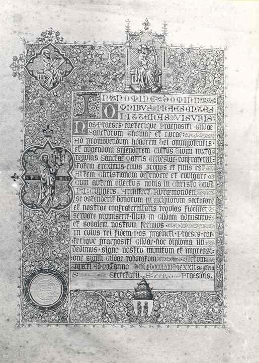 Oorkonde behorende bij de Pauselijke onderscheiding Pro Ecclesia