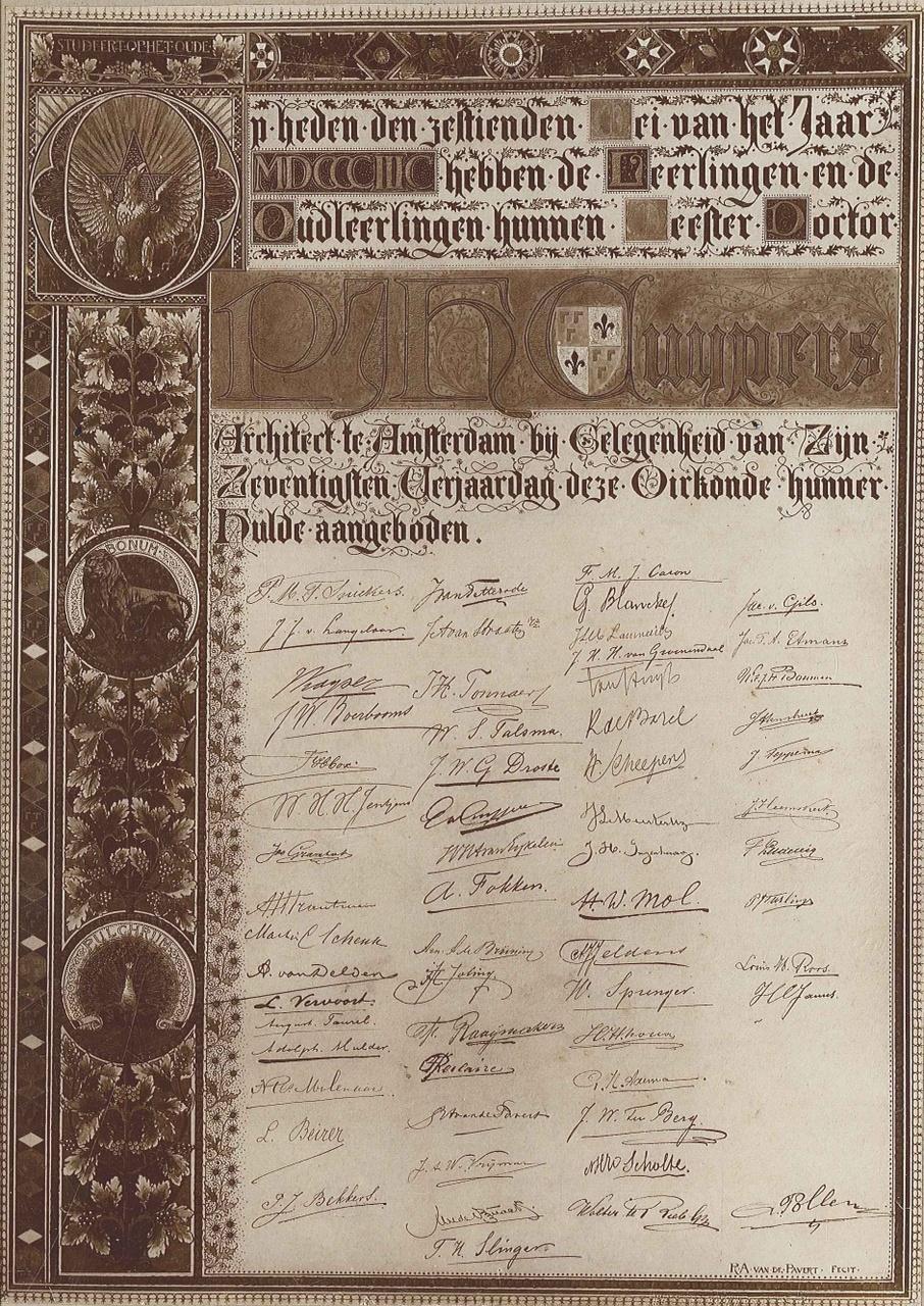 Foto van een oorkonde met felicitatie- register b.g.v. 70e verjaardag P.J.H. Cuypers
