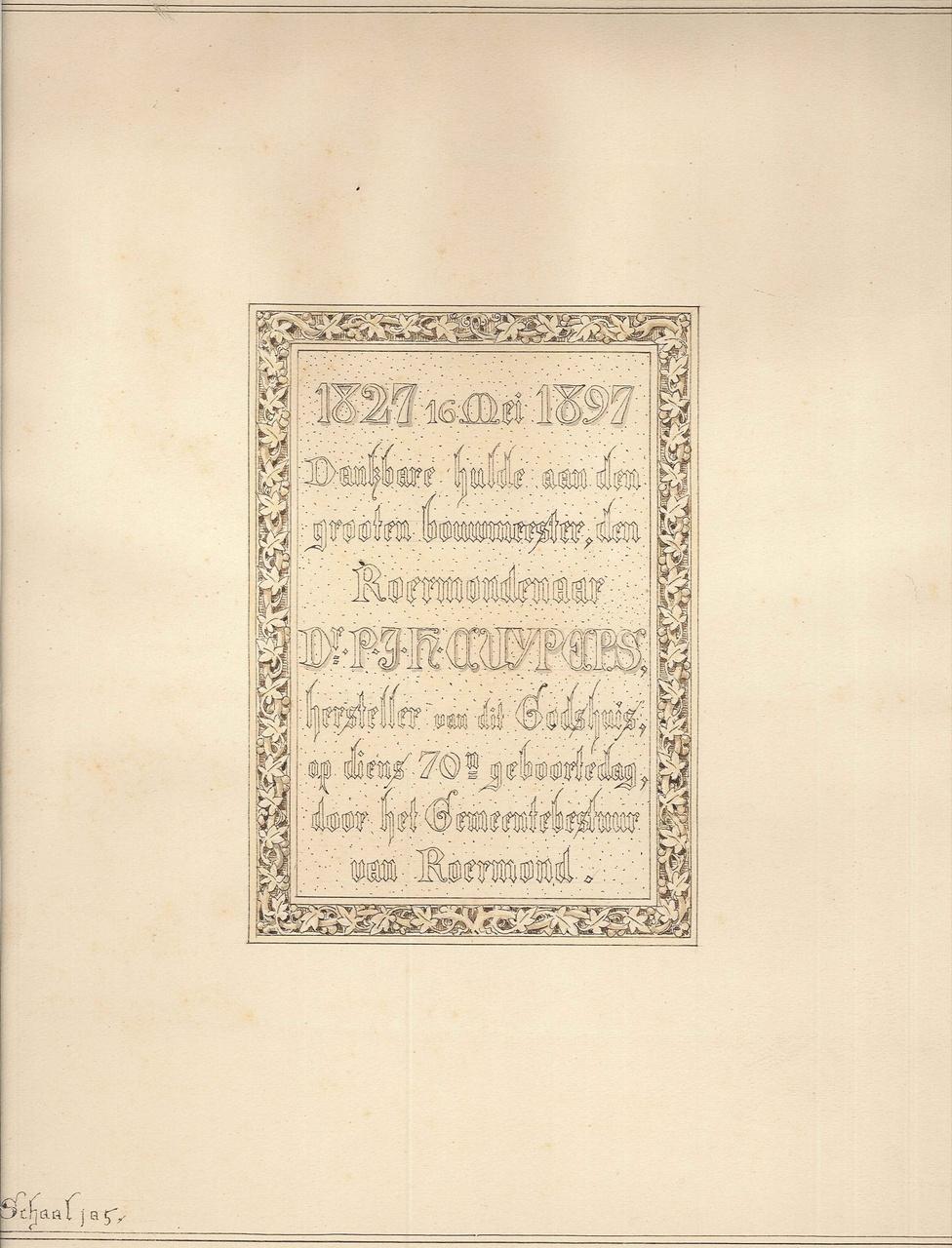 Ontwerptekening gedenksteen 70e verjaardag P.J.H. Cuypers voor de Munsterkerk Roermond