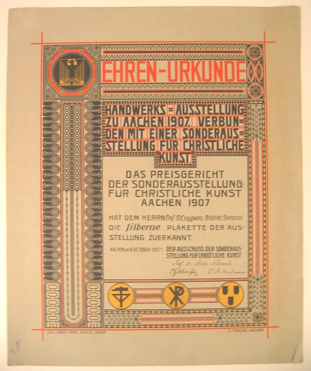 Oorkonde voor de 'silberne plakette' tijdens de 'Handwerks-Ausstellung zu Aachen 1907'