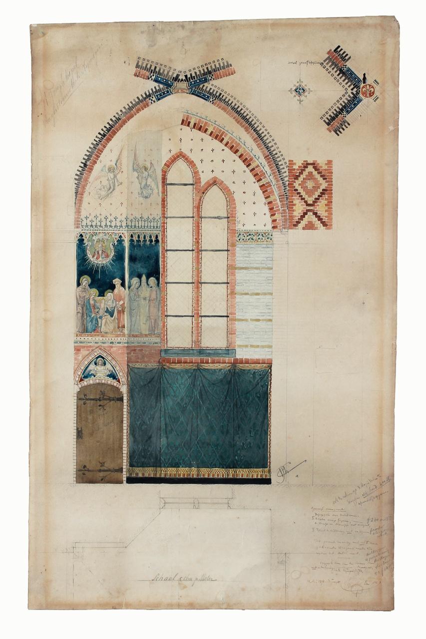 Ingekleurde ontwerptekening detail van de St. Joseph kapel Augustinuskerk Nijmegen