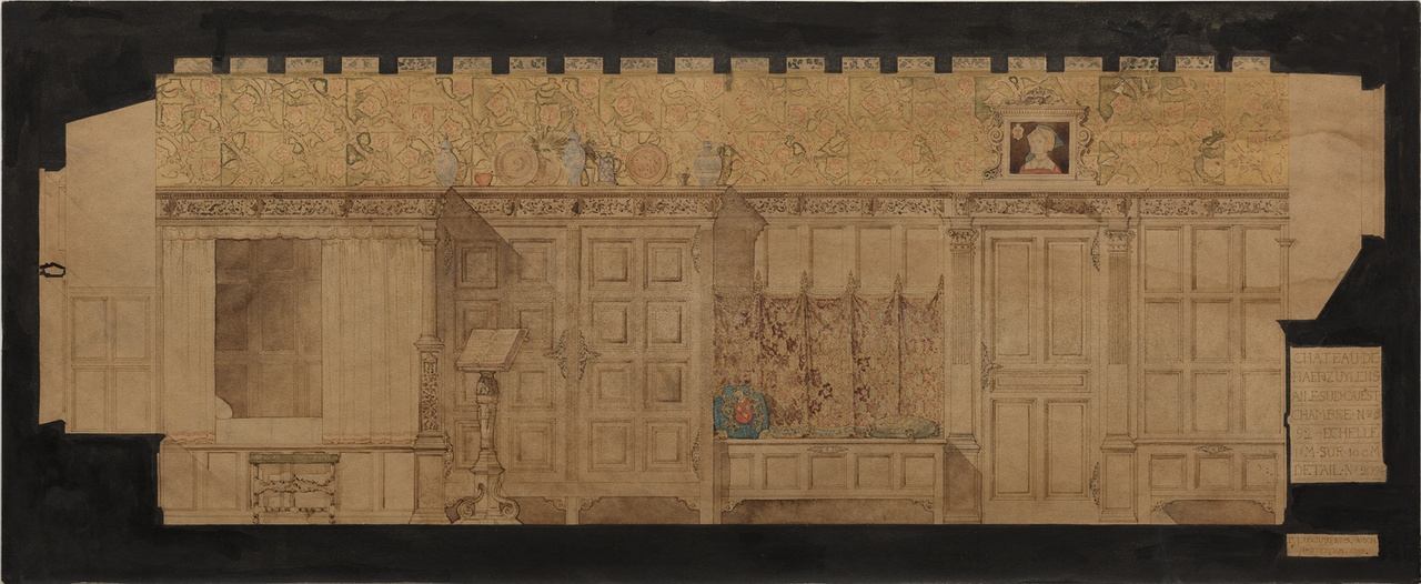 Ingekleurde ontwerptekening wand kamer no. 92 in kasteel De Haar