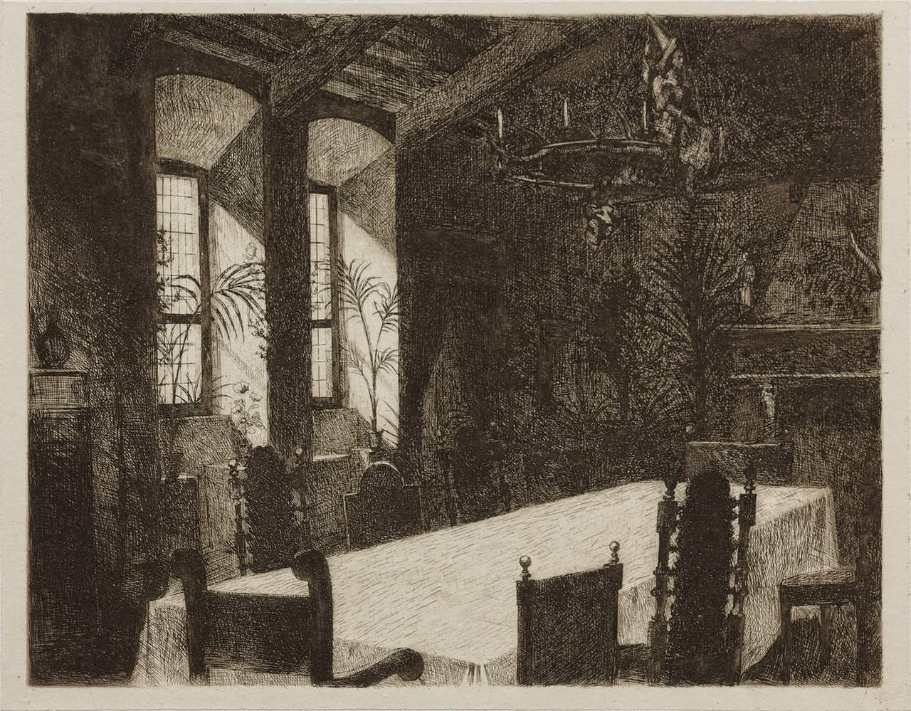Afdruk van een ets van een kamer in kasteel De Haar