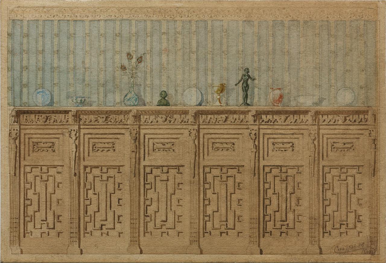 Twee ingekleurde ontwerptekeningen van een wand in kasteel De Haar