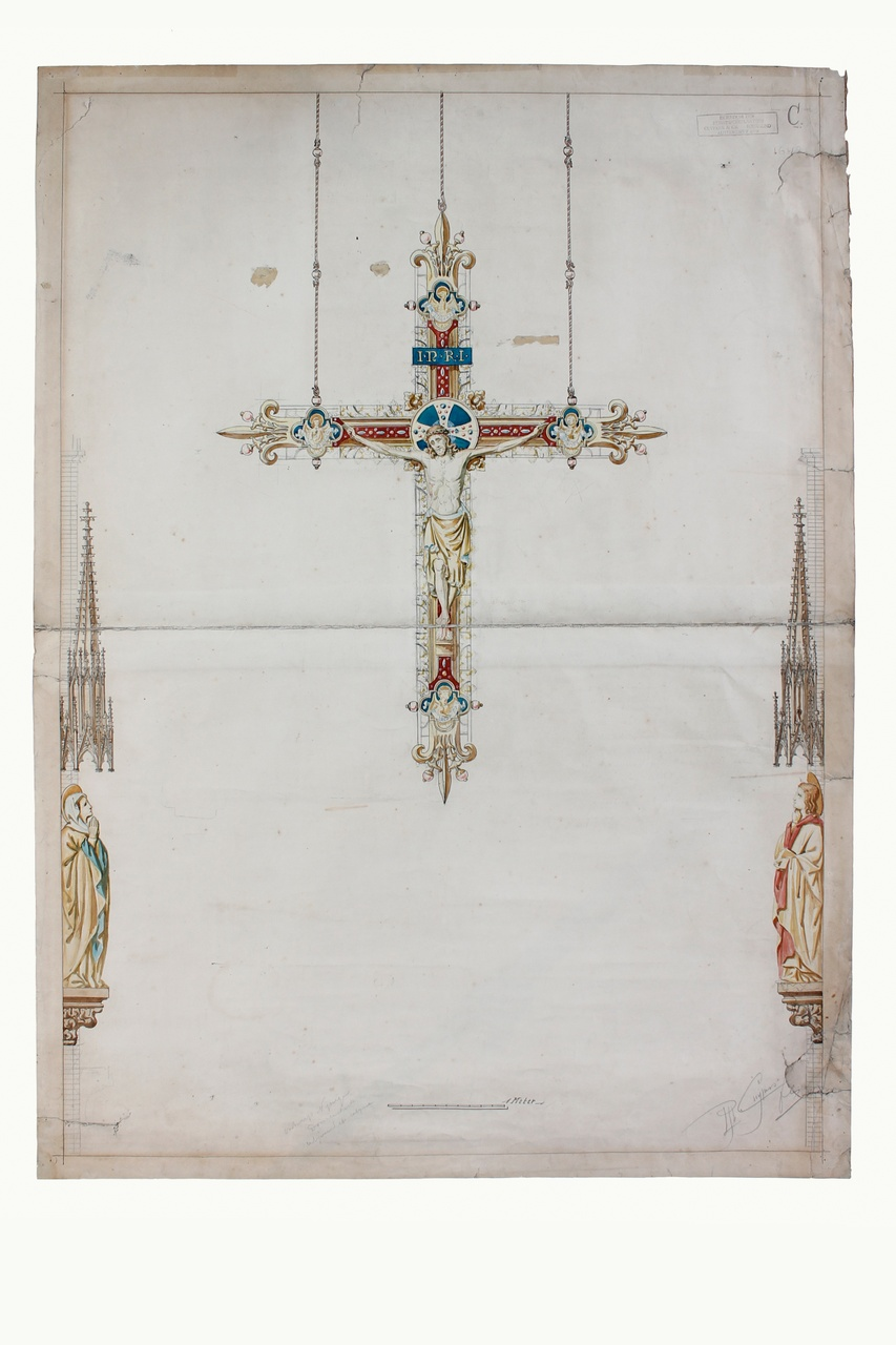 Ingekleurde ontwerptekening triumphkruis Domunicanerkerk Nijmwegen