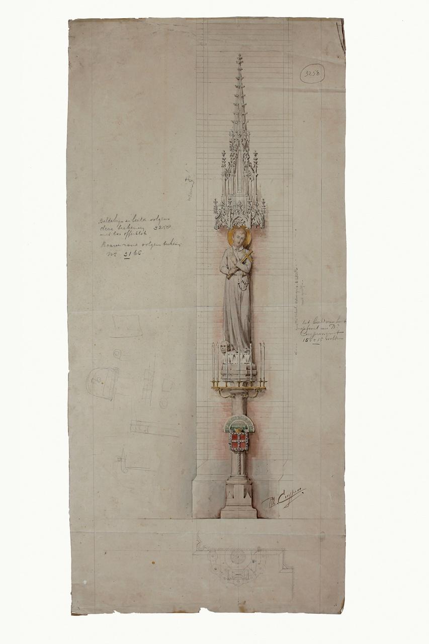 Ingekleurde ontwerptekening heiligenbeeld met baldakijn