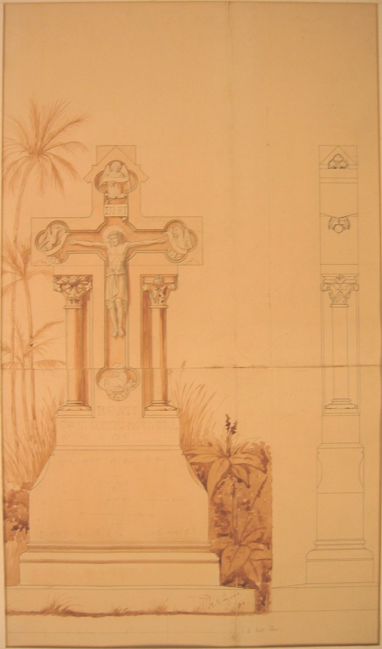Ingekleurde ontwerptekening van een grafmonument