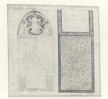 Ingekleurde ontwerptekening altaarwand Klein Oratorium Dominicanenklooster te Huissen