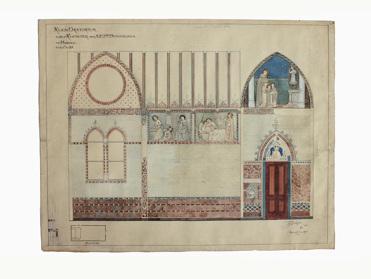 Ingekleurde ontwerptekening Klein Oratorium Dominicanenklooster te Huissen