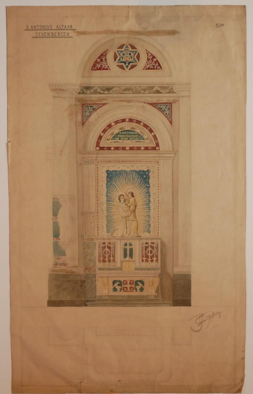 Ingekleurde ontwerptekening St. Anthoniusaltaar Zevenbergen
