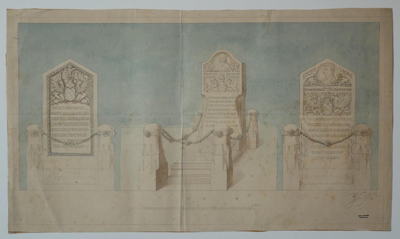 Ingekleurde ontwerptekening grafmonument van Mr. Willem Baron van Dedem