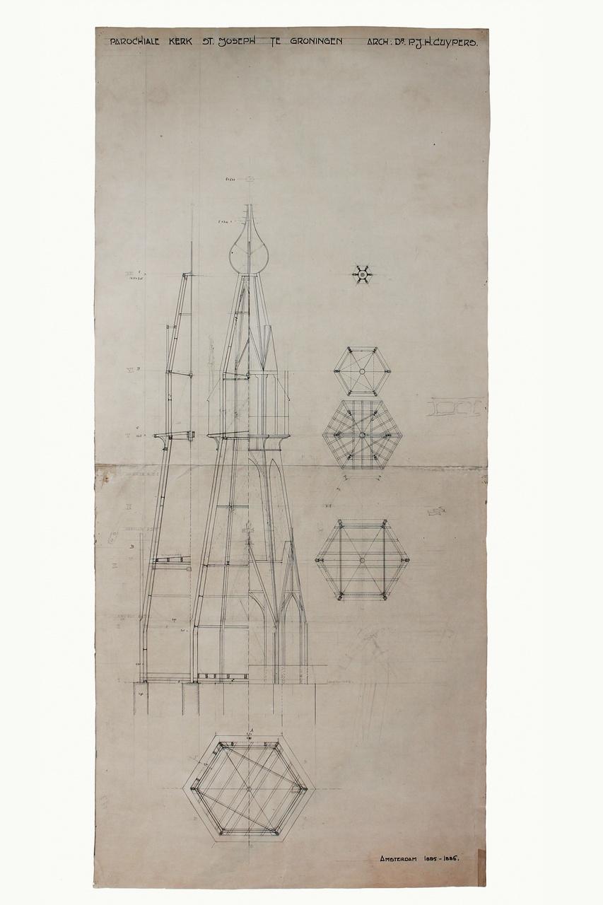 Ontwerptekening torenspits van de parochiekerk St. Jozef te Groningen