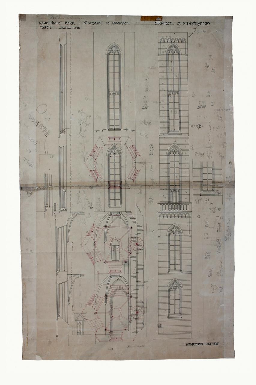 Ontwerptekening toren van de parochiekerk St. Jozef te Groningen