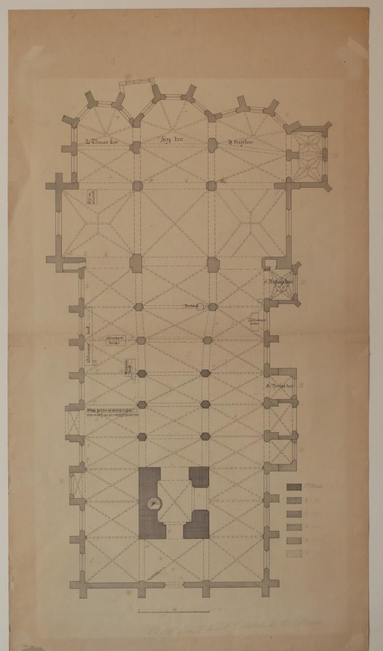 Ontwerptekening plattegrond van de St. Jacobuskerk te Utrecht