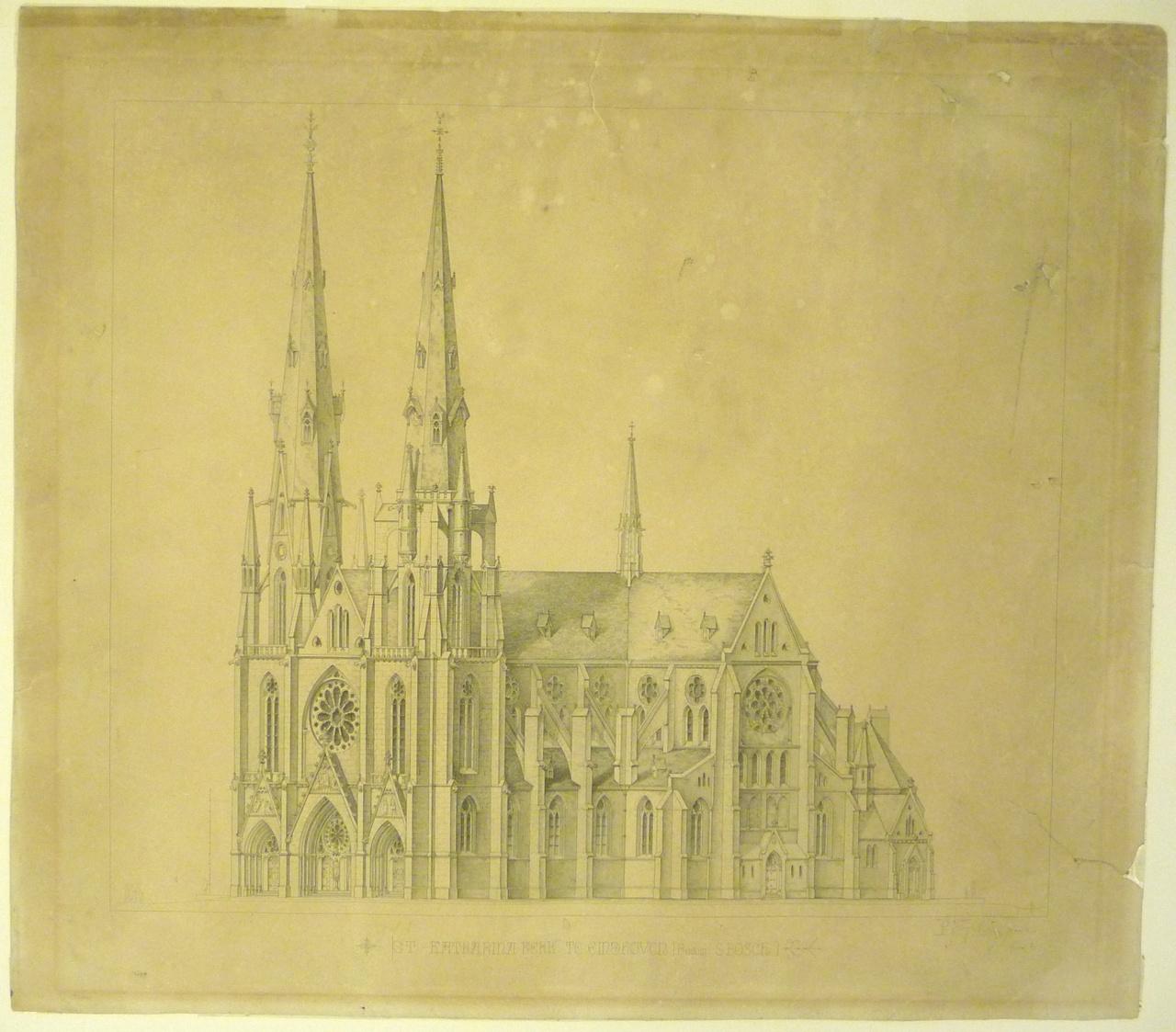 Reproduktie van een ontwerptekening van de St. Catharinakerk te Eindhoven