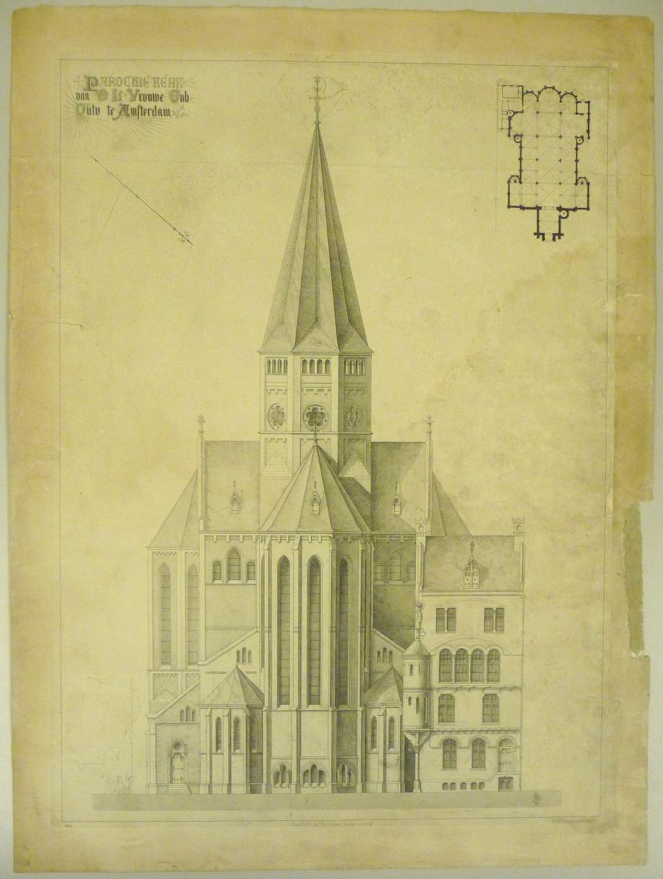 Reproduktie van een de parochiekerk O.L.Vr. Onbevlekt Ontvangen te Amsterdam