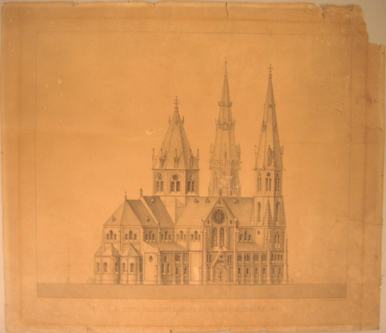 Reproduktie van ontwerptekening van de parochiekerk O.L.Vrouw te Rotterdam