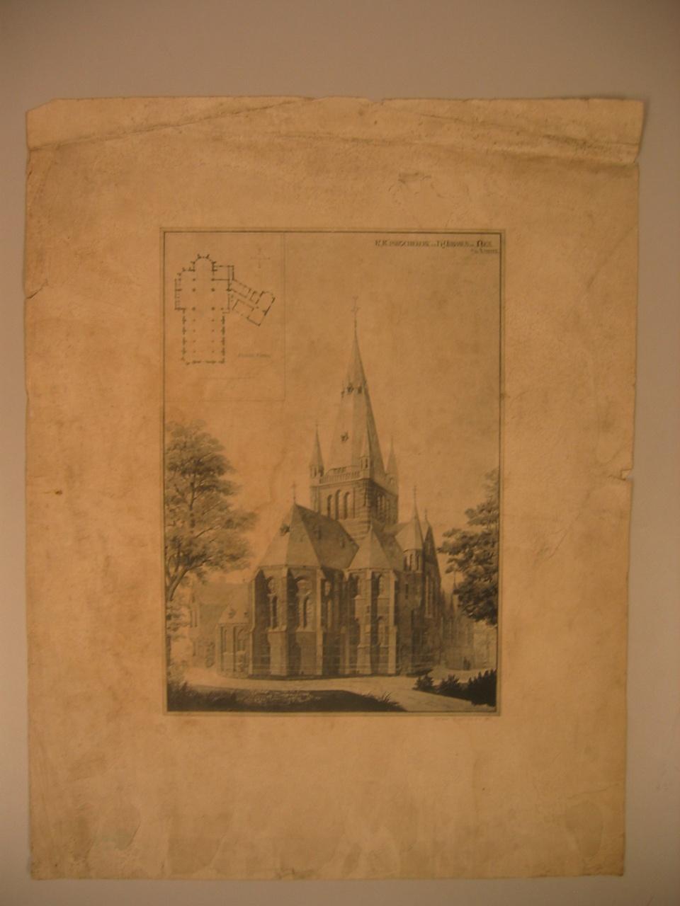 Reproduktie van ontwerptekening van de parochiekerk H.Urbanus te Nes aan de Amstel