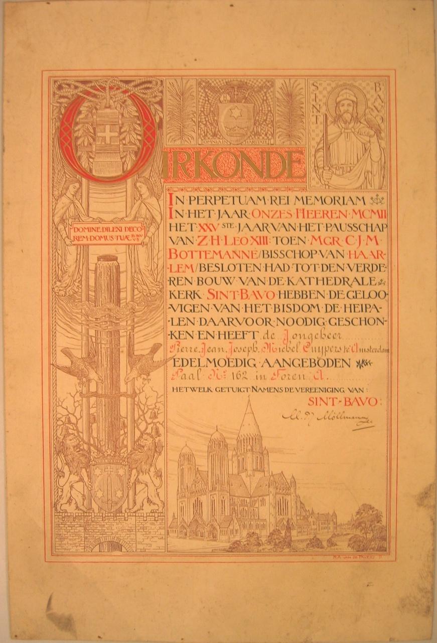 Oorkonde uitgereikt bij gelegenheid van de bouw van de St. Bavo te Haarlem