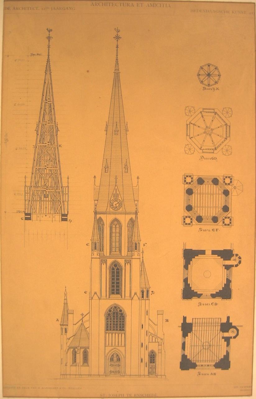Reproduktie van ontwerptekening van de St. Josephkerk te Enschede