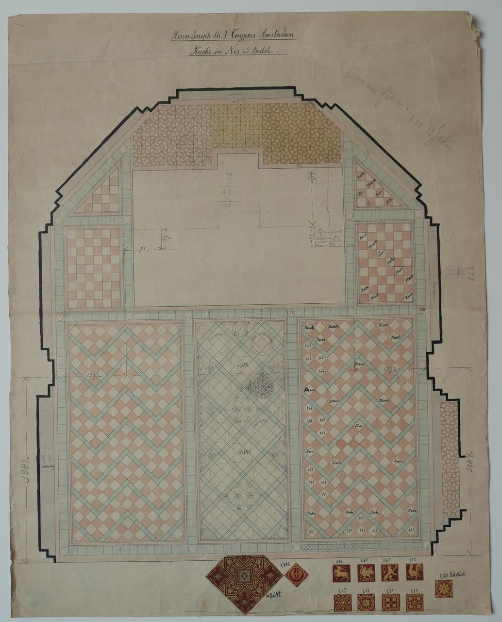 Ingekleurde ontwerptekening betegeling van een kerkvloer in Nes aan de Amstel