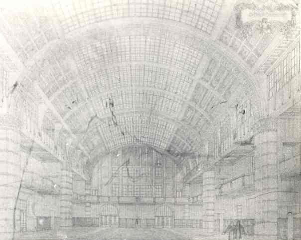 Perspectieftekening grote Beurszaal van het Beursgebouw van de Effectenhandel Amsterdam