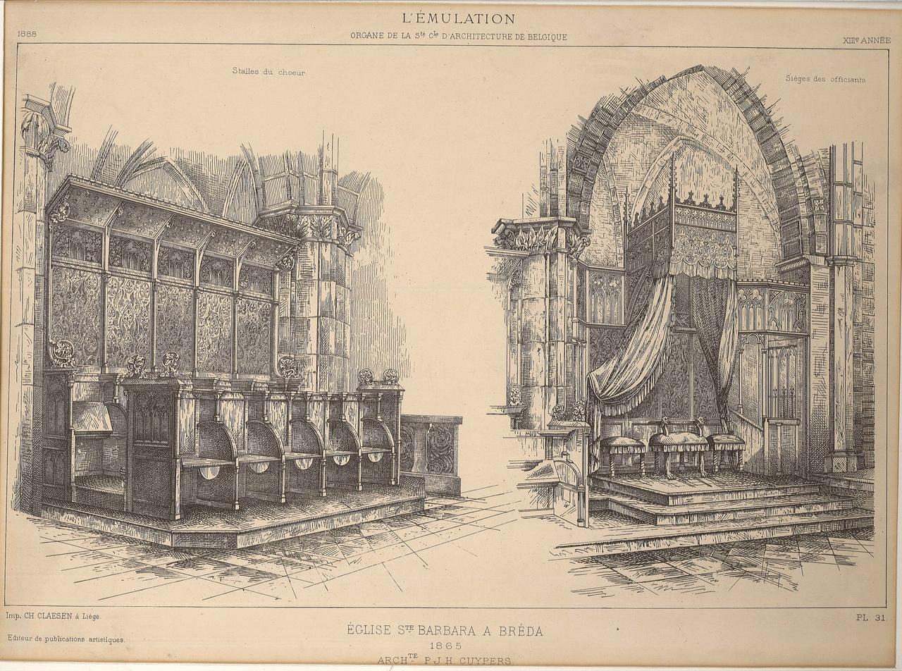 Reproduktie van ontwerptekening bisschops- roon en koorbanken St.Barbarakerk te Breda