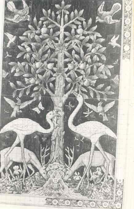 Ingekleurde ontwerptekening voor borduurwerk op stramienpatroon