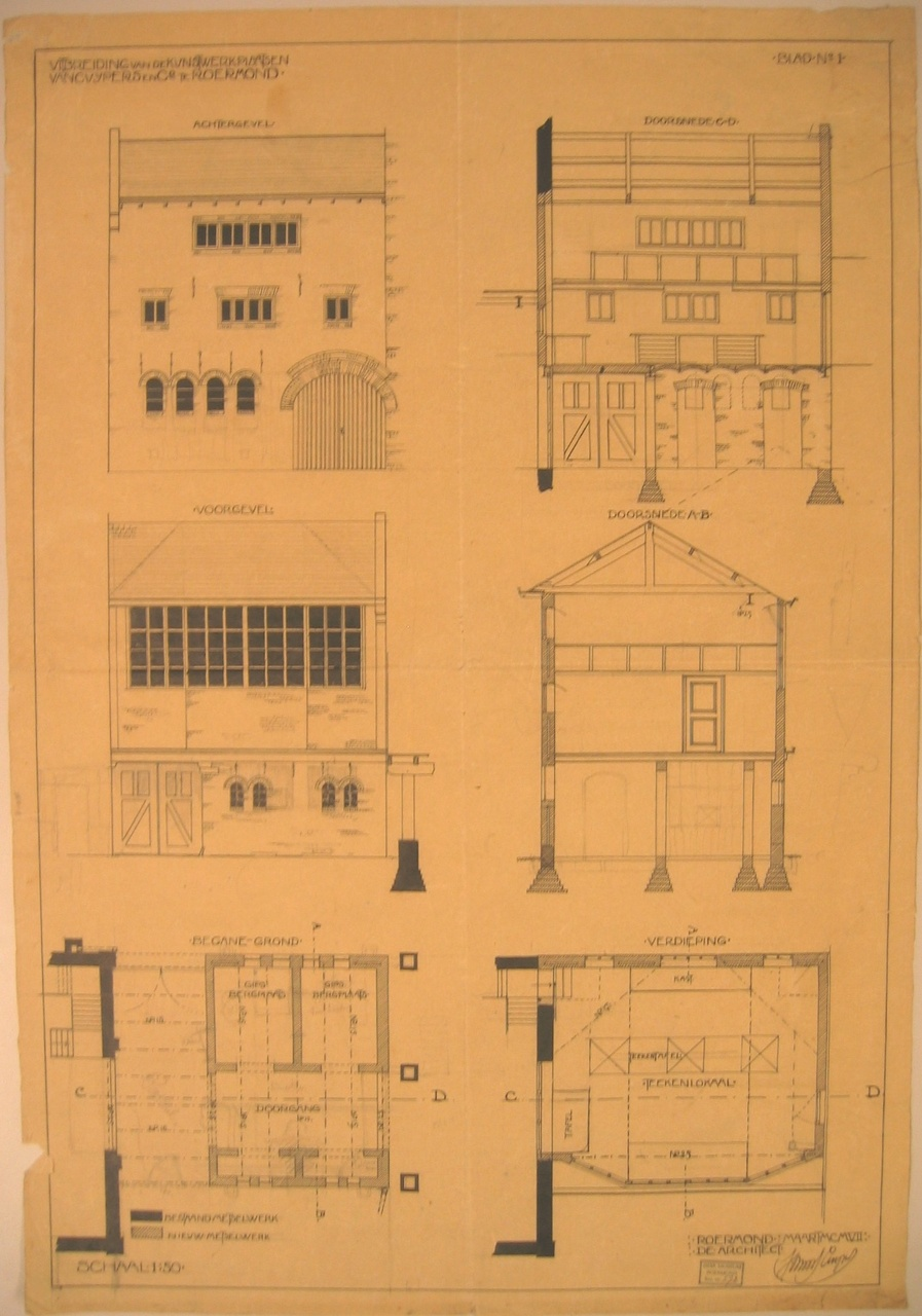 Bestektekening uitbreiding van de Kunstwerkplaatsen Cuypers & Co.