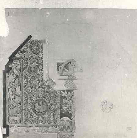 Ingekleurd ontwerp vloerkleed priesterkoor Studentenkapel O.L.Vr. in 't Zand