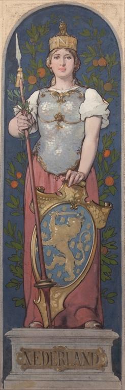 Ontwerptekening met een allegorische voorstelling van de Nederlandse Maagd