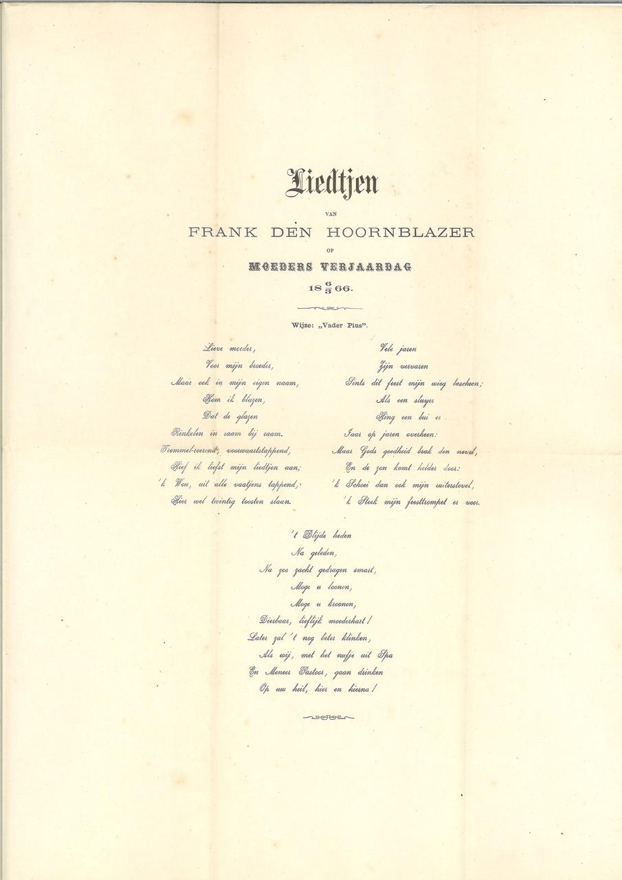 Liedjen van Frank den Hoornblazer op Moeders Verjaardag 18 6/3 66