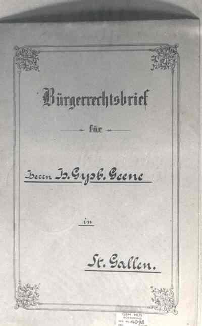 Burgerrechtsbrief voor H.G. Geene